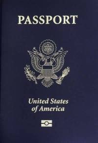Regular U.S. passport with blue cover.