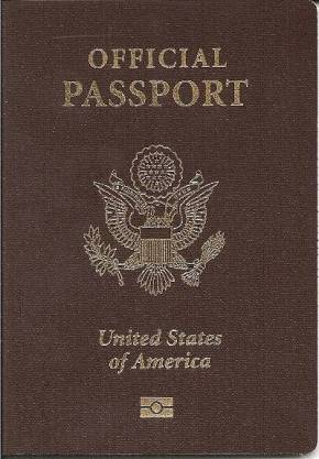 Official U.S. passport with brown cover.