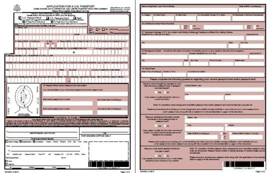 Ds-5504 Application For A U.S. Passport: Name Change, Data