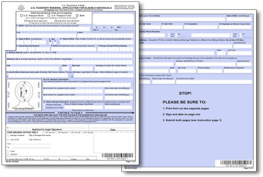 Application for a Passport Renewal Form DS-82