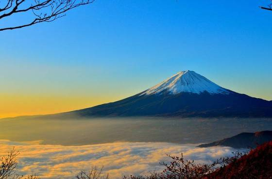 Mt Fuji is an active volcano and the hightest peak in Japan.
