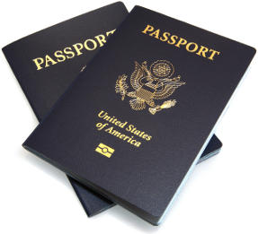 Two new blue American passport books.