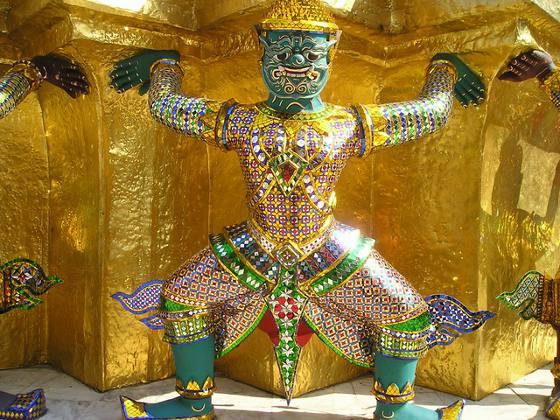 Close up of a statue at the Royal Palace in Bangkok, Thailand