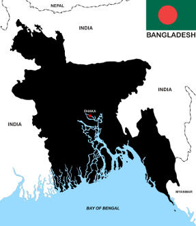 Bangladesh map and flag