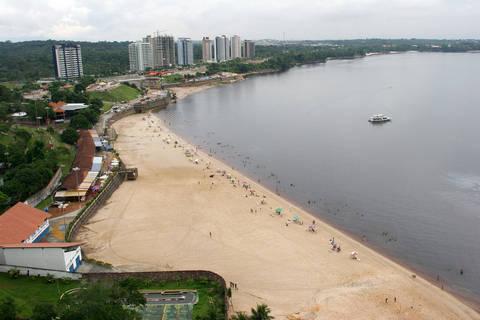 Beach on Amazon River in Manaus Brazil