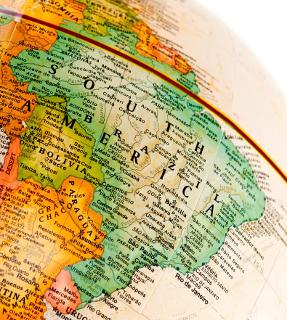 Brazil map on globe