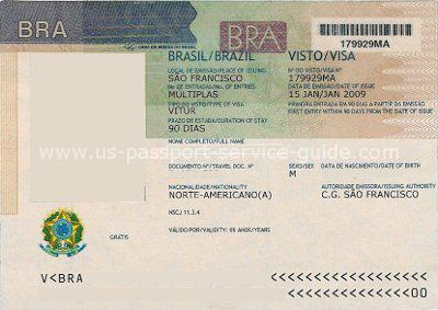 Brazil tourist visa stamped in United States passport.