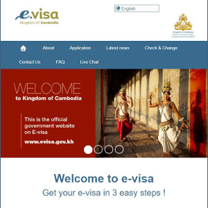 a screenshot of Cambodia's eVisa application webpage