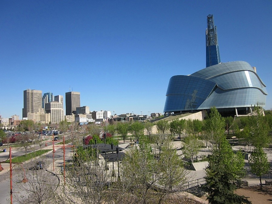 A view of the Canadian Museum for Human Rights and Winnipeg, Manatoba skyline