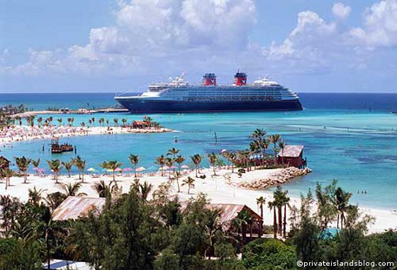 Cruise ship docked at port in Castaway Cay, Bahamas