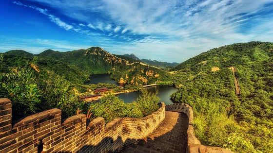 Great Wall of China and lush green valley