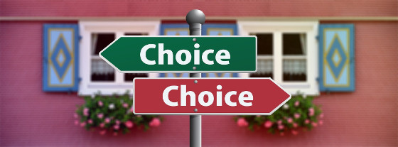 "two signs that read ""choice"""