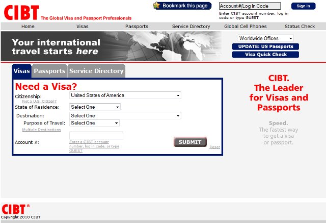 CIBT Passport and Visa Expediting Service