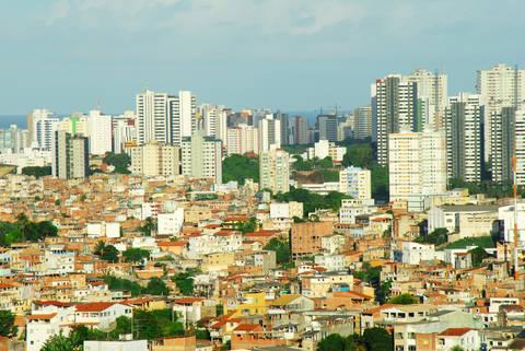 Thousands of buildings in Salvador da Bahia Brazil