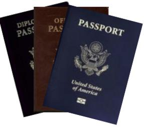 Front covers of diplomatic, official and no-fee passports.