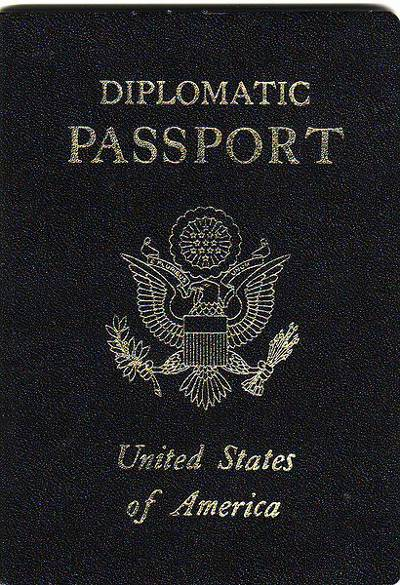 Diplomatic U.S. passport with black cover.