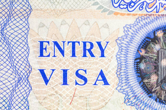 Entry visa stamp in passport