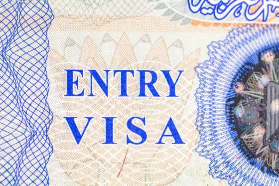 Entry visa stamp in passport
