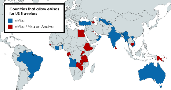 a color-coded map of countries that accept eVisas