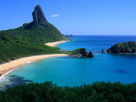 Secluded beaches and lush green vegetation on Fernando de Noronha island.