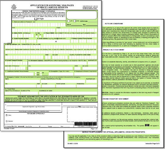 DS4085 Application to Add Visa Pages to Passport – Passport Renewal Application Form