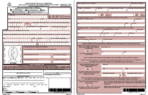 DS5504 Application for a US Passport Name Change Data – Passport Renewal Application Form