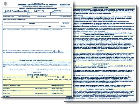 Form DS-86: Statement of Non-Receipt of U.S. Passport