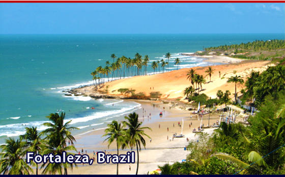 Sunny day on a red and white sand beach near Fortaleza Brazil