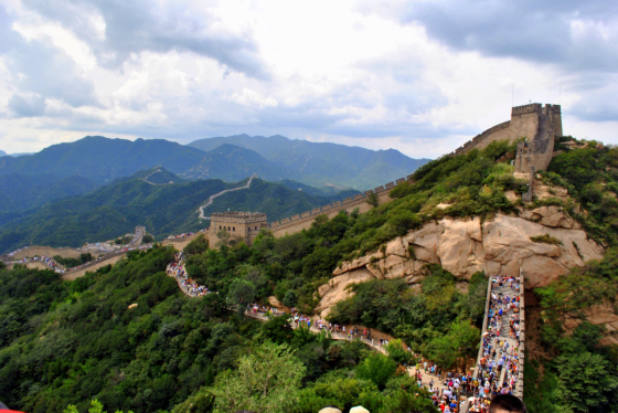 Great Wall of China aerial crowded