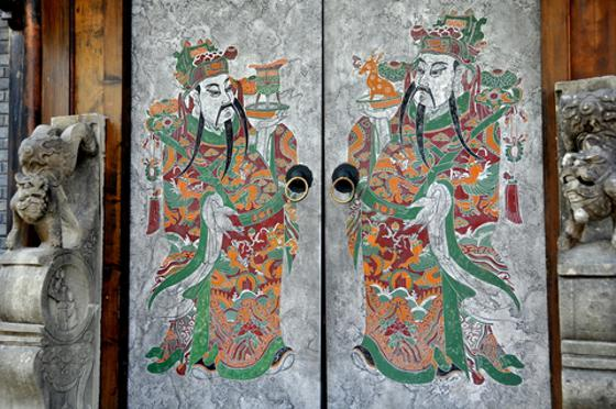 Hand-painted doorway in Chengdu China.