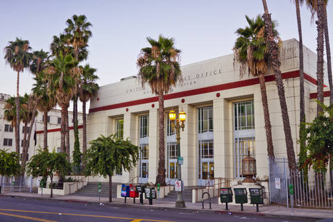 View of the Hollywood Station Post Office in Los Angeles, California