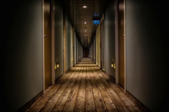 hotel hallway with night lighting