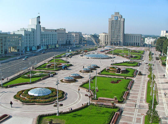 Independence Square in Minsk Belarus