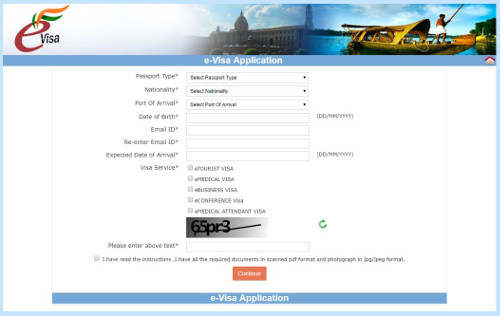example appication page for an Indian eVisa