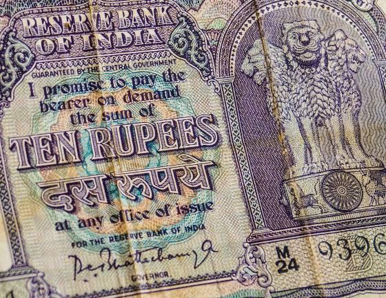 closeup of ten rupee note