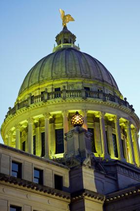 Jackson Mississippi State Capitol Building as dusk