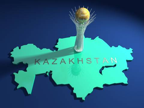 Baiterek tower on a map of Kazakhstan