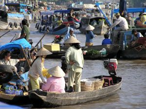 Market on the Mekong River in Vietnam