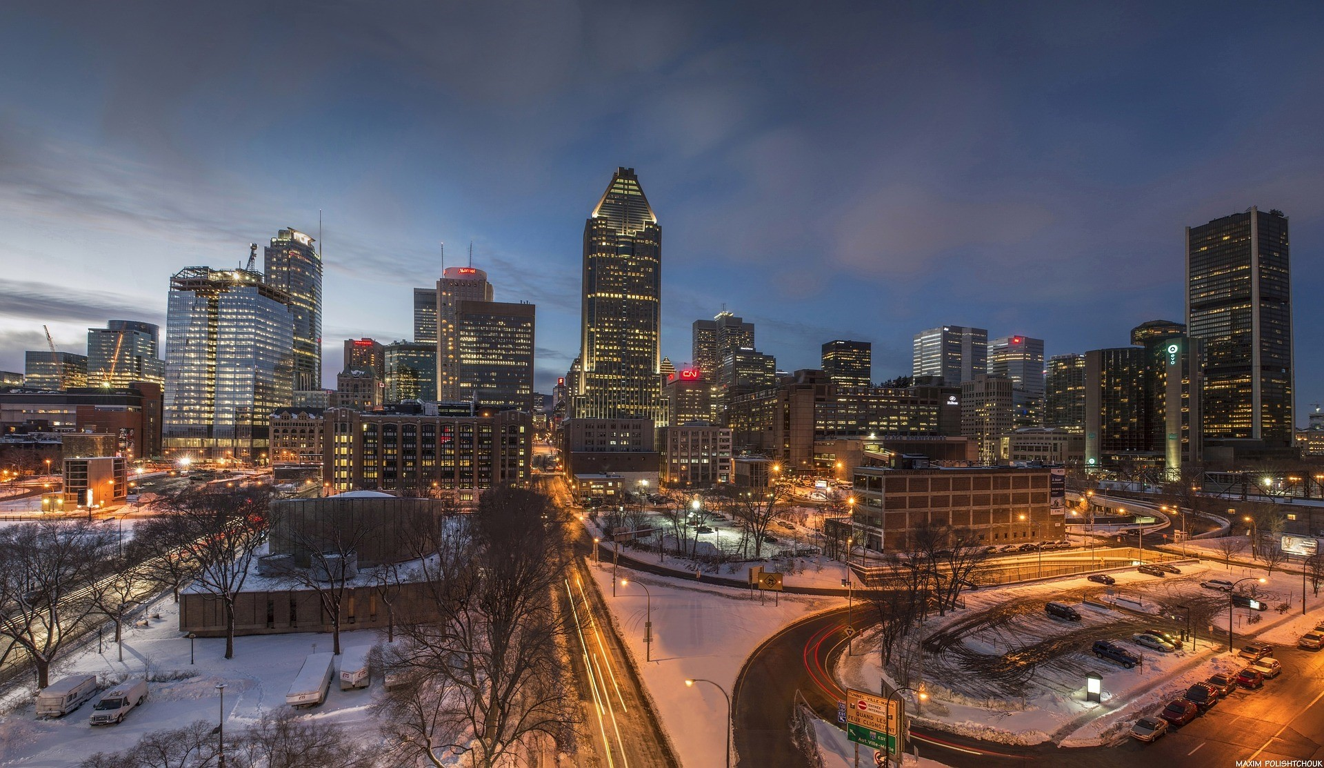 a wintertime view of the Montreal, Quebec skyline at dusk