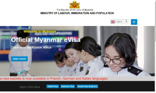 a screenshot of Myanmar's official eVisa application webpage