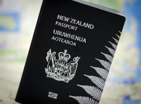 New Zealand Passport front cover with electonic chip symbol