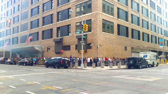 Long lines at the New York Passport Agency in the Greater New York Federal Building at 376 Hudson Street New York, NY 10014-3621