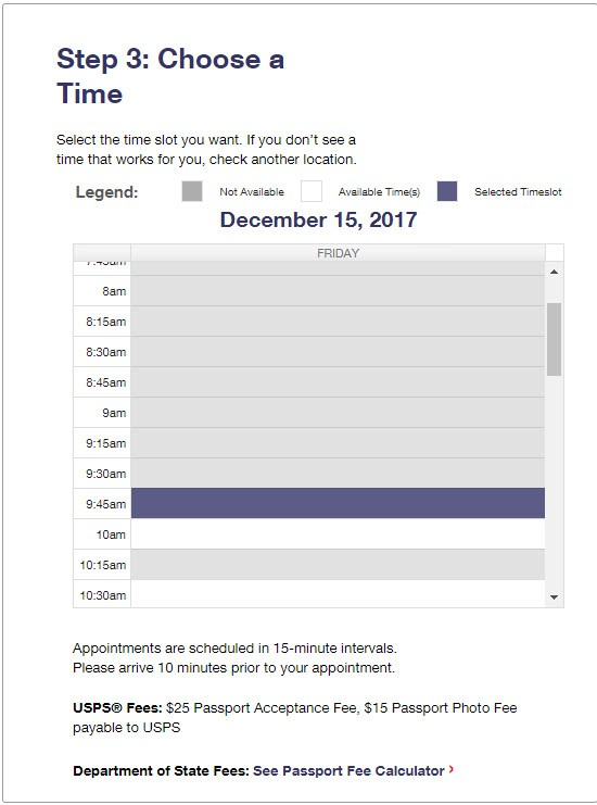 USPS Online Appointment System Step 3 - Choose a Time