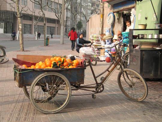 Orange Vendor Tricycle in Beijing China