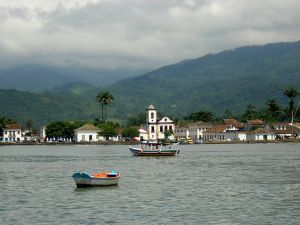 The city of Paraty Brazil at the foot of the Serra do Mar Mountain Range