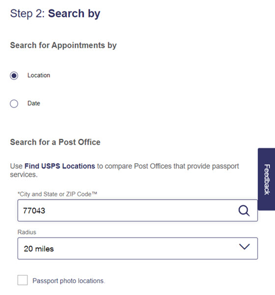 USPS Online Appointment System Step 2 - Search by Location