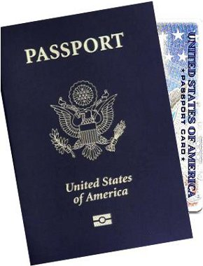 Front of U.S. passport book and passport card.