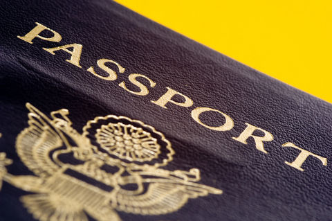 Passport cover closeup showing emblem of the U.S. Department of State