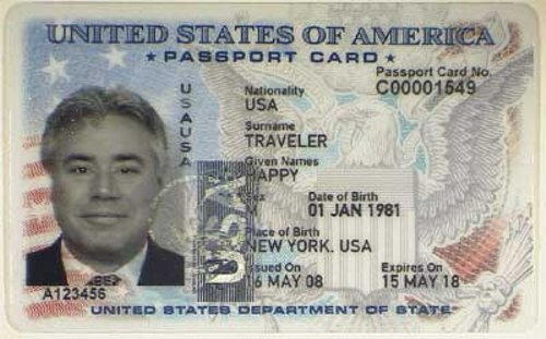 U.S. passport card.