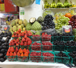 fruit on display at a produce market